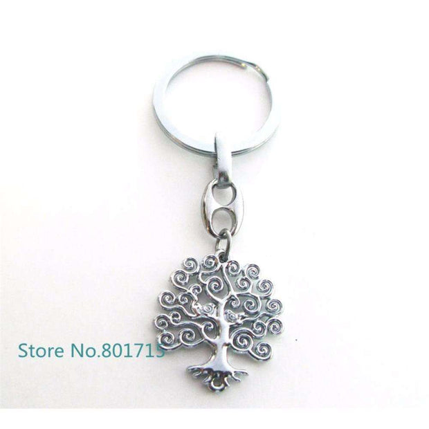 100pcs/lot Fashion Rectangle trees Charm Pendant Keychain Key Ring