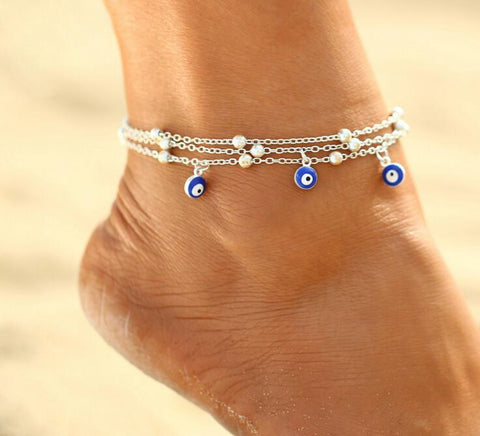 Fashion Turkish Blue Evil Eyes Beads Anklets For Women Pendant Anklet Bracelet Foot Jewelry Gift