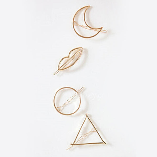 Simple Elegant Metal Geometric Round Triangle Moon Hairpin Hair Clip