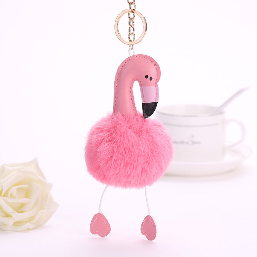 2017 Hot Sell Flamingo Pompom Keychain Lovely Fluffy Artificial Rabbit