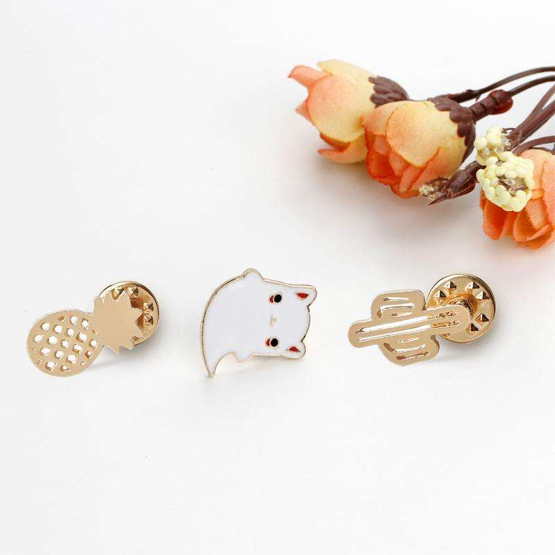 1pcs Fashion Brooch For Women Plant cactus  Creative Little Cat Brooch