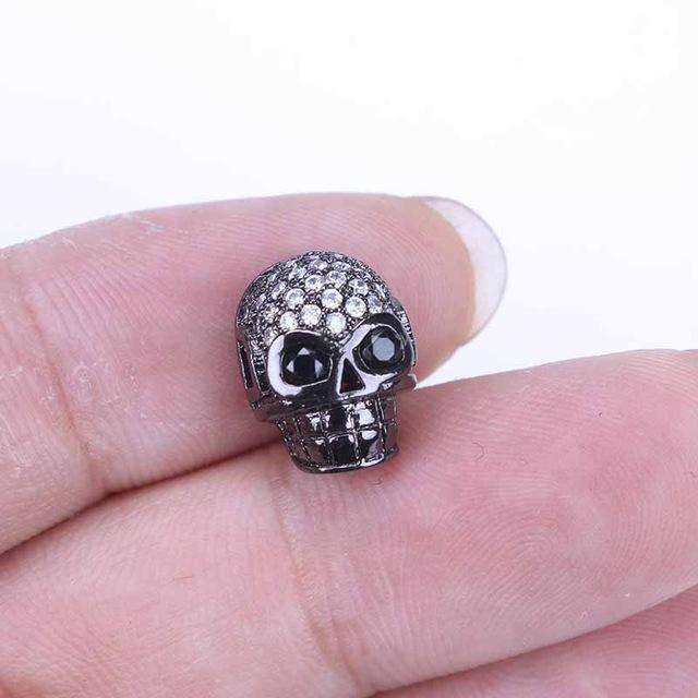 1pc 11*13mm  Environmental Brass Micro Pave Cubic Zirconia Skull Beads