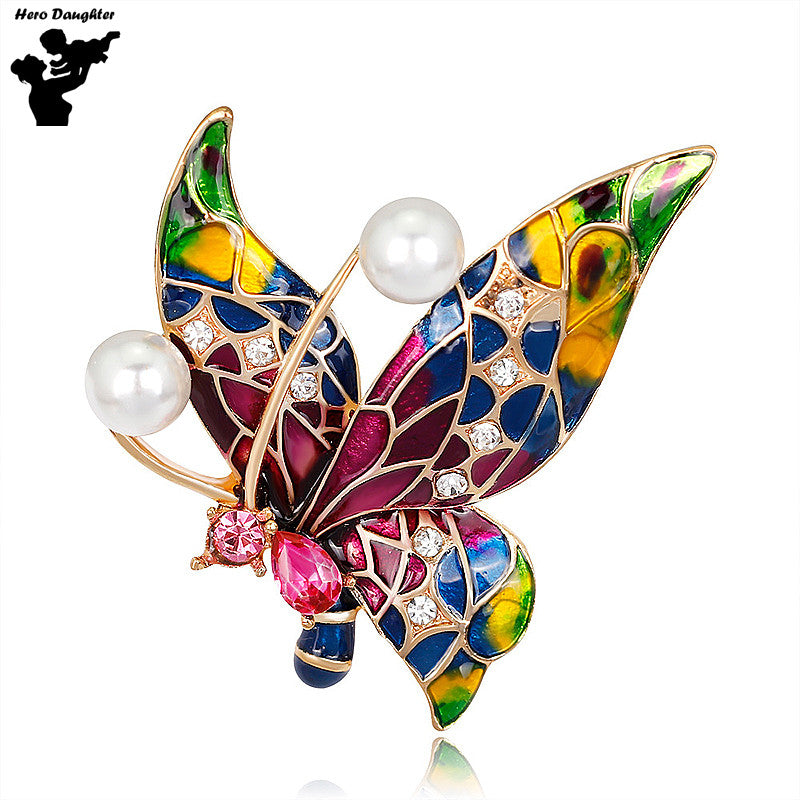 2017 Colorful Oil Painting Crystal Rhinestone Butterfly Brooch Pin