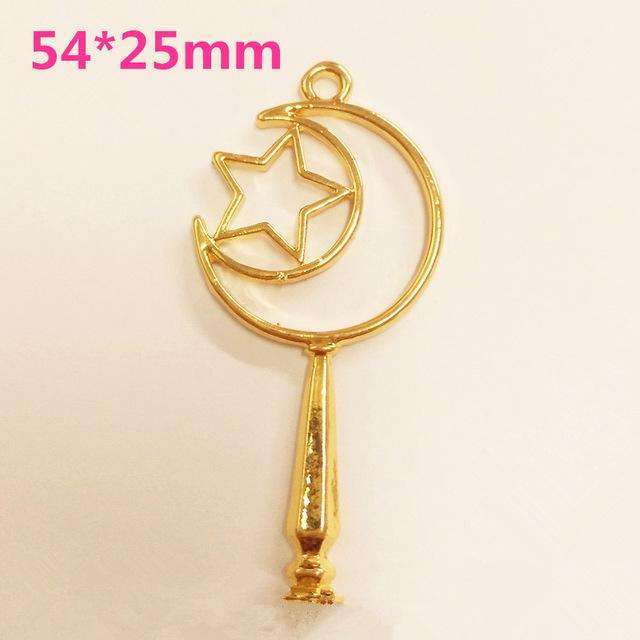 12pcs heart Magic stick Open Bezel Metal Frame Pendant Gold Charm