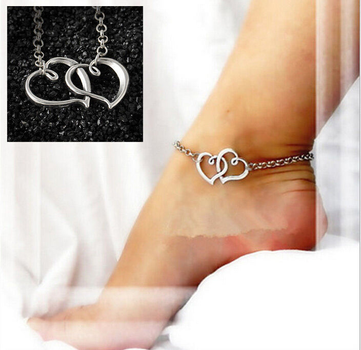 2017 New Arrival Double Heart Anklets Simple Silver Chain Anklet