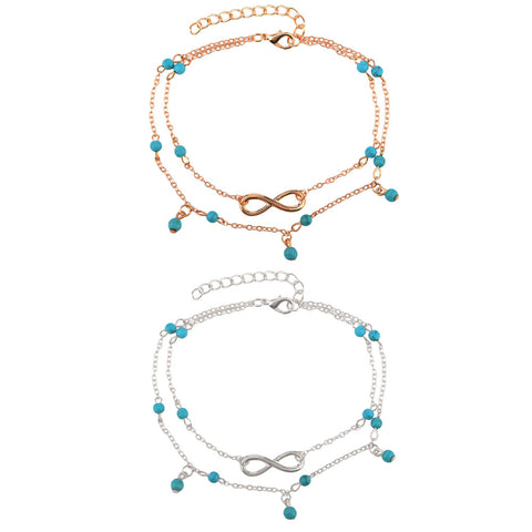 New Double Infinite Beads Pendant Anklet Foot Chain Summer Bracelet Charm 2 Color Anklets Foot Jewelry Gift