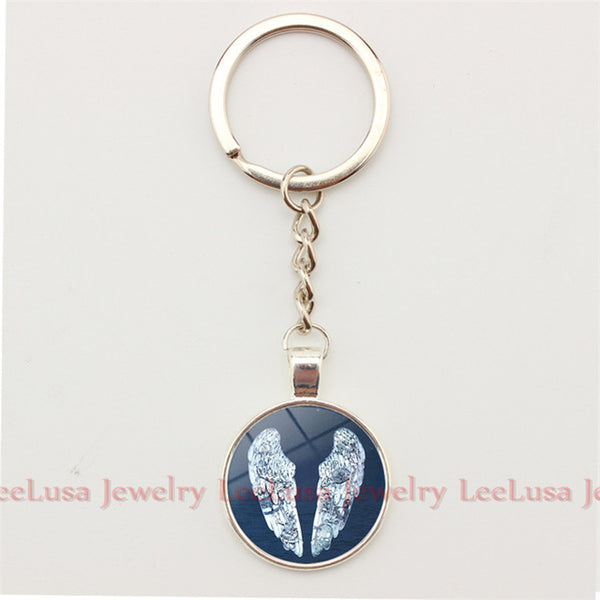 Popular Music Band Coldplay Logo Key Chain Glass Dome Pendant Alloy Key Ring Key Holder Jewelry Fans Love 5styles
