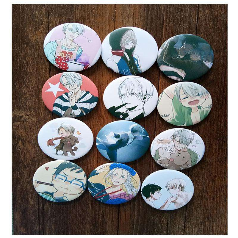 12pcs/Set 58MM Harajuku  Anime YURI on ICE Victor Nikiforov Katsuki