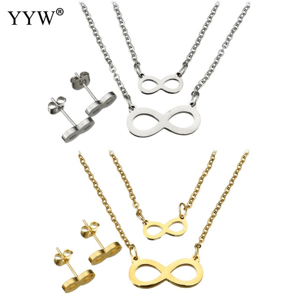 2017 Fashion Stainless Steel Jewelry Sets Stud Earring Infinity