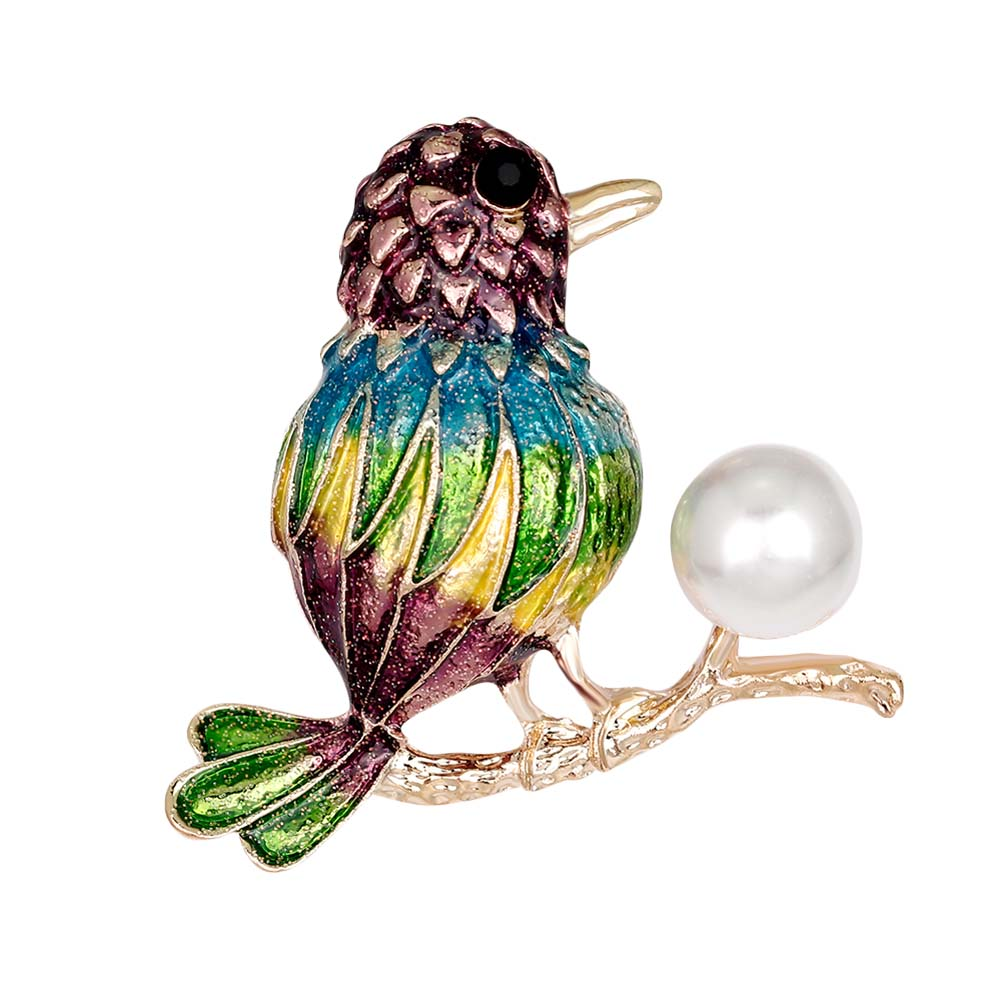 2017 Fashion Colorful Birds Enamel Gold color Women Brooches For Party