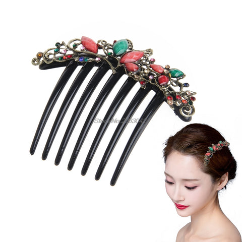 Retro Flower Mix Color Metal Rhinestone Wedding Hair Comb Pin Clip