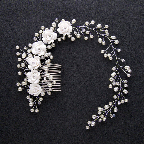 Handmade Simulated Pearl White Flower Wedding Tiara Floral Hair Comb