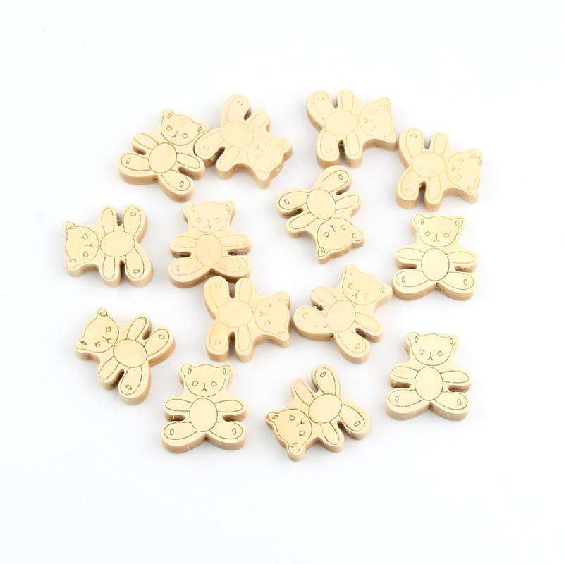 15pcs Wooden Spacer Beading Bear Wooden Beads 24x25mm for Making
