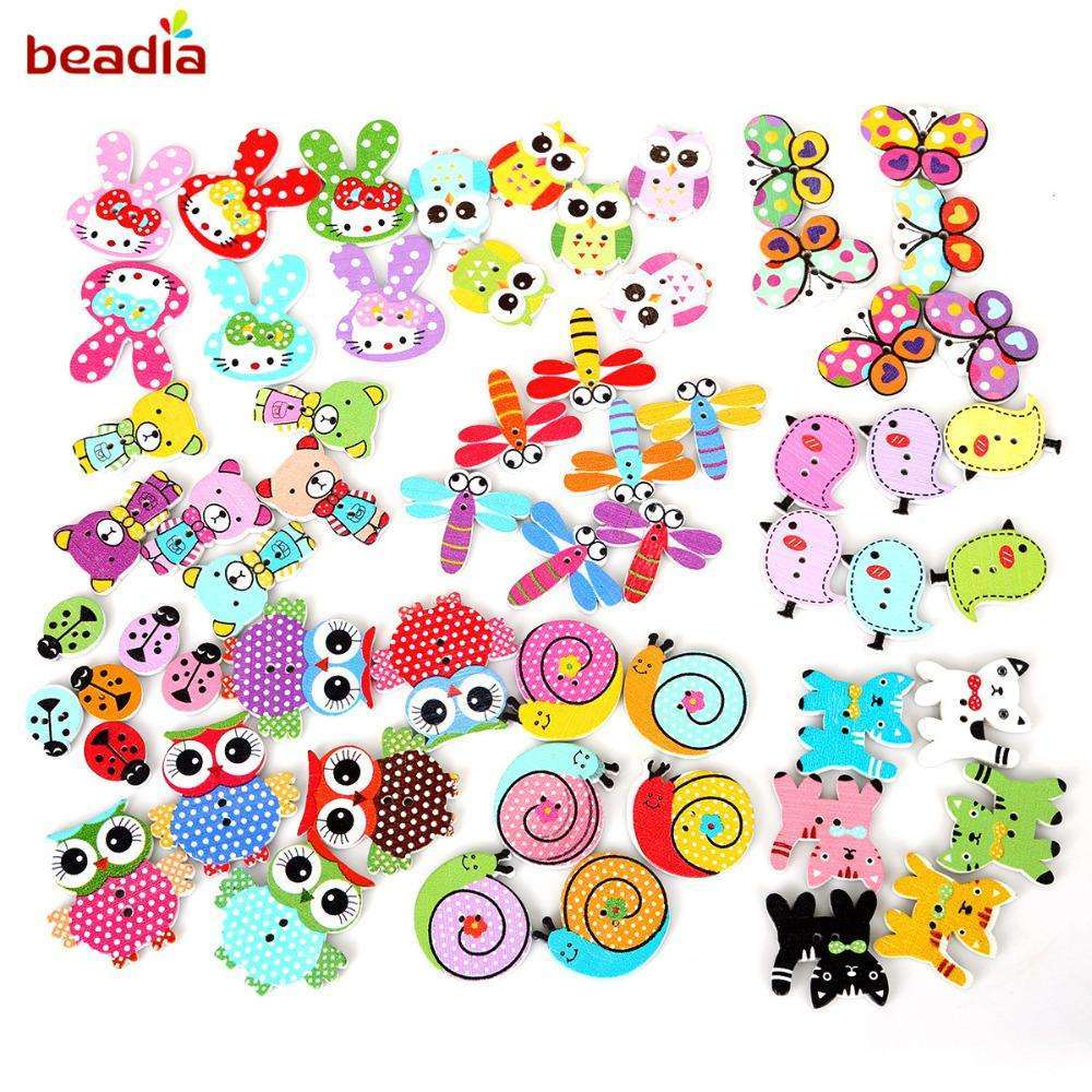100pcs Random Mixed Cartoon Animal Bird/Pig/Rabbit Wooden Button Beads