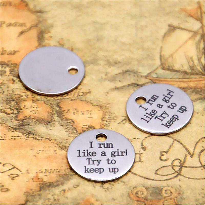 10pcs I run like a gril try to keep up charm silver tone message charm