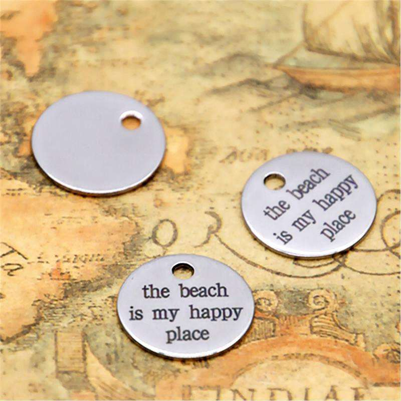 10pcs the beach is my happy place charm silver tone message charm