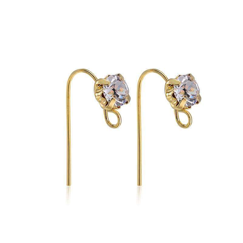 10pair 18*11mm Fashion Gold color Crystal Ear Wire Hooks Drop Earrings