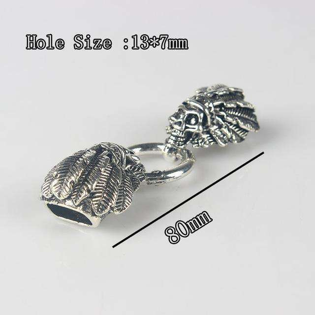 1set Antique Silver Skull / Dragon Head Lock Spring Round Cord