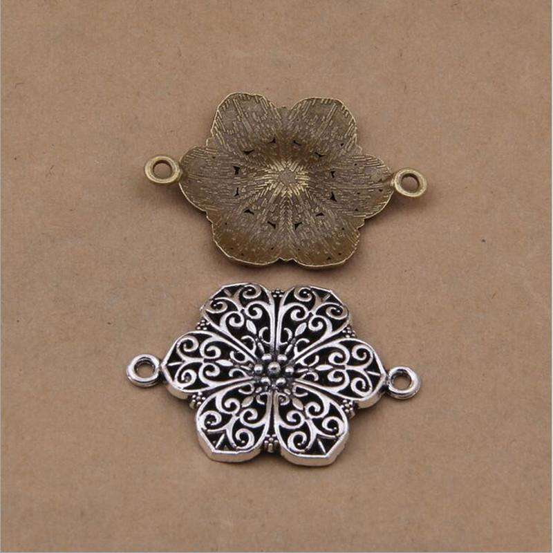 10pcs 42x33mm Vintage zinc Alloy Charms Flower Connector Charm Pendant