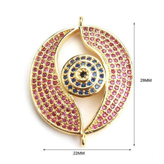 1pc 29*22mm Micro Pave CZ zircon turkey evil eye charms connectors for