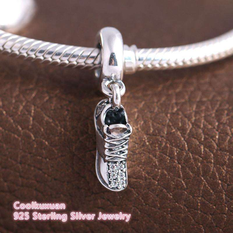 100% 925 Sterling Silver Running Shoe Charms With Clear CZ fit Pandora