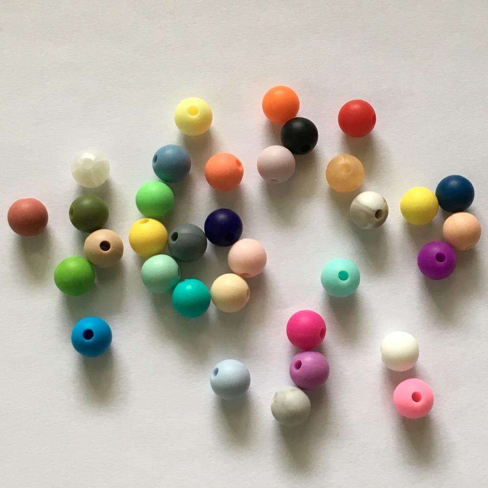 100pcs/lot 9mm Round Loose Silicone Beads Safe Teether Baby Chew Non