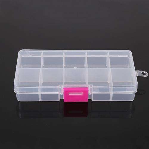 10 Slots Adjustable Transparent Jewelry Storage Box Ring Earring