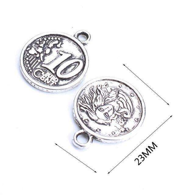 10pc/lot  23mm money Charms Antique Silver Tone 2 Sided too Cute for