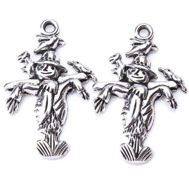 10pc/lot 24 x 15mm Scarecrow Charms Antique Silver Tone for diy charms