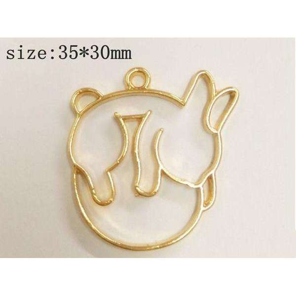 10 pcs/lot Little rabbit fox cat ass Metal Frame Pendant Gold Charm