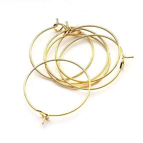 100pcs 25/30/35mm Gold/Silver Plated Earring Clips Ladies Round Loop