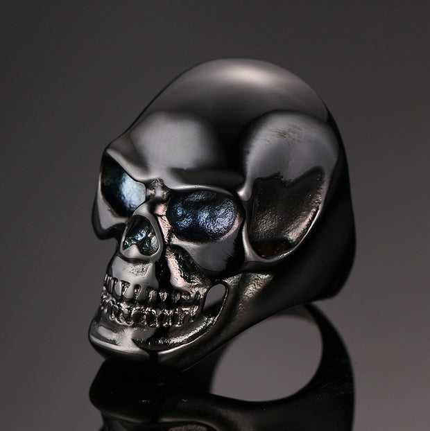 Men's Large Heavy Stainless Steel Black Skull Ring for Men Vintage