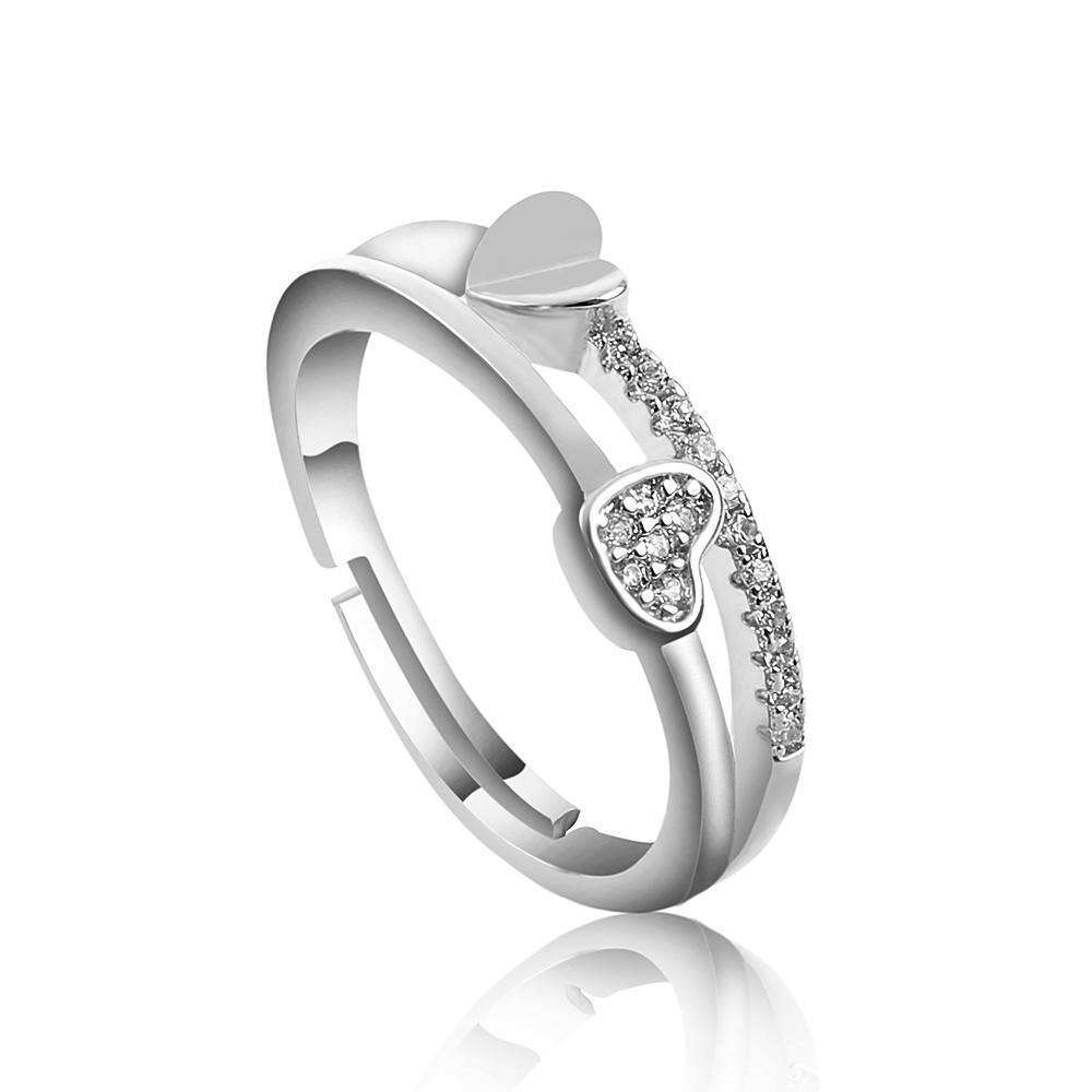 1 Pcs Trendy Heart Shaped Silver Plated Crystal Adjustable Rings for