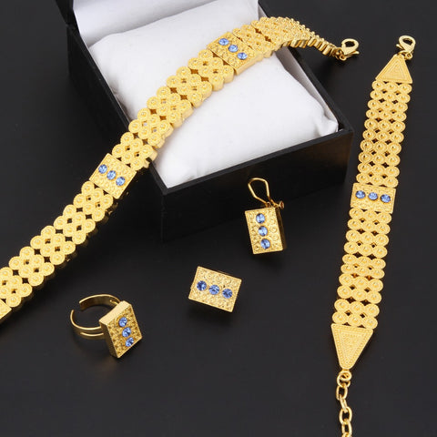 Gold  Ethiopian set Jewelry Chokers Necklace Bracelet Earring Ring