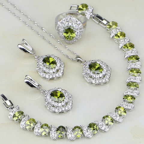 Olive Cubic Zirconia White Zircon 925 Sterling Silver Jewelry Sets For