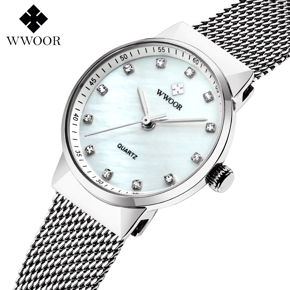 WWOOR Women's Watches Top brand Stainless steel strap Quartz Watch