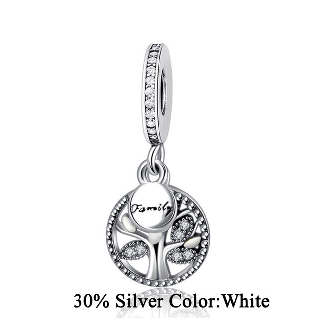 2017 Real 925 Sterling Silver Bead Family Tree Heritage Dangle Charm