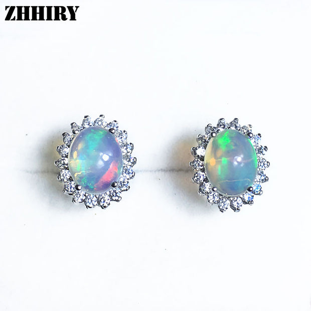 Women Natural Color Opal Gemstone Stud Earrings Genuine 925 sterling