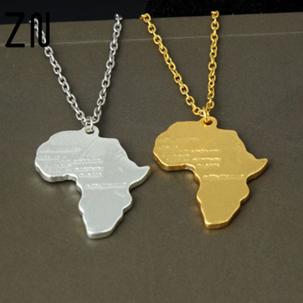 2017 Fashion Africa Map Jewelry Gold Necklace African Country