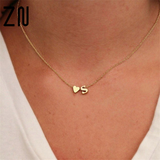 Hot 26 Letter & Heart-shaped Charm Pendant Necklace Women Simple