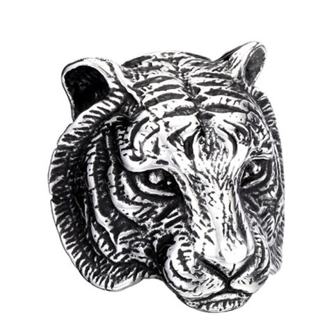 Fashion Personality Men Ring Tiger Head Ring Stainless Steel Unique Animal Ring For Man Biker Punk Ring Jewelry