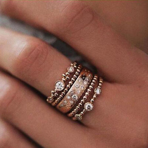 5pcs/set Vintage Rose Gold Crystal Stackable Rings for Women Elegant