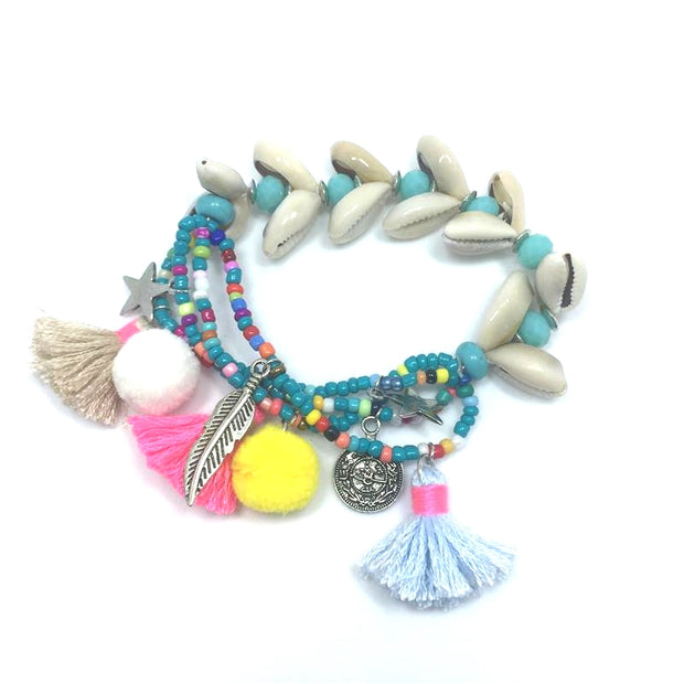 New Handcraft friendship bracelets tassel charm bracelets bangle sea