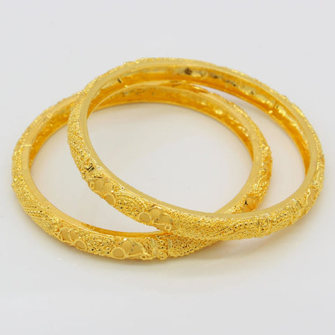 NEW Ethiopian Bangles For Women 24k Gold Color Dubai