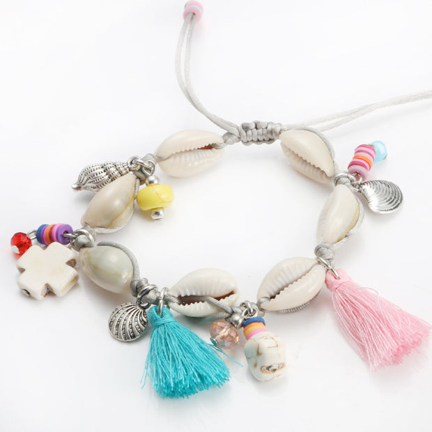 Summer Fashion Boho Handmade Tassel Pendant Shell Jewelry Strand