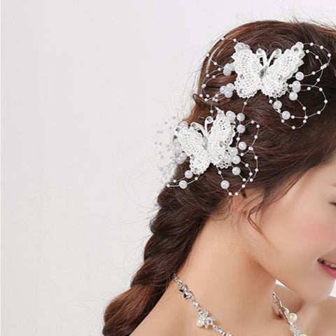 Elegant Bride Jewelry Headdress Flower Butterfly Hair Clip Wedding