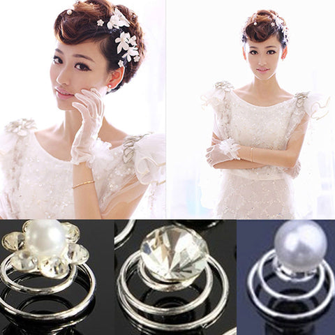 6Pcs Bridal Wedding Prom Crystal Rhinestone Pearl Flower Hair Coils