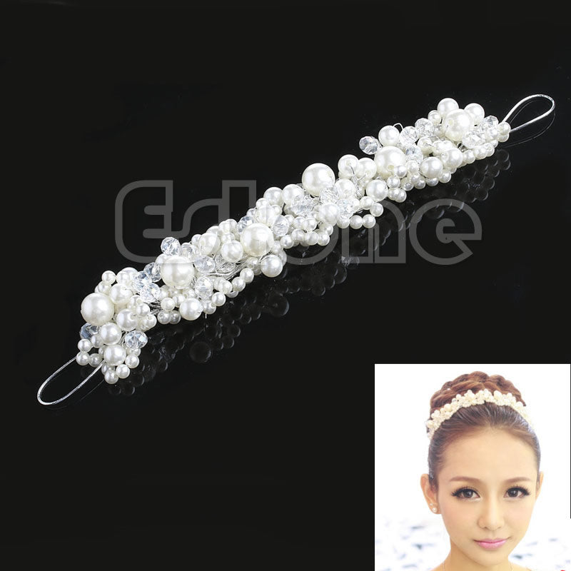 New Rhinestone Faux Pearl Wedding Bridal Prom Headband Tiara Headpiece