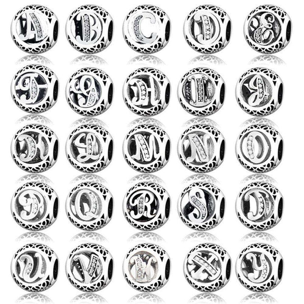 100% 925 Sterling Silver Alphabet Carta A-Z Charm Bead Fit Original
