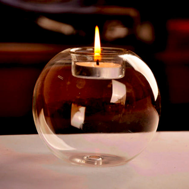 Romantic Round Hollow Glass Ball Holder Wedding Fine Dining Home